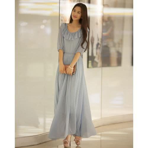 Đầm maxi dài tay tối giản