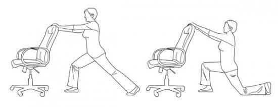 Bài tập chùng chân ghế tại văn phòng
